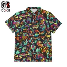 OGKB 3D Funny Psychedelic Print Button Shirts Hipster Casual Abstract Hoody Anime Graffiti Short Sleeve Shirt Streetwear