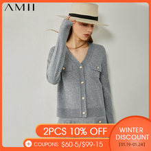 AMII minimalismo autunno donna top moda Pullover Vneck giacca monopetto in Tweed vita alta Aline gonna donna 12040763