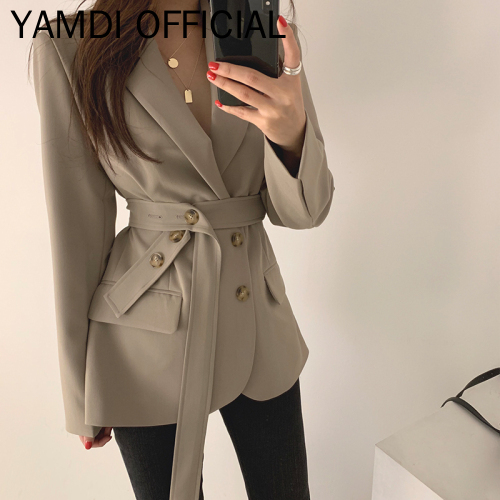 YAMDI 2019 Autumn Winter Suit Balzer Korean Vintage Blazer Coat Female Women Lace Up Belt Officce Lady Workwear Blazer Outwear