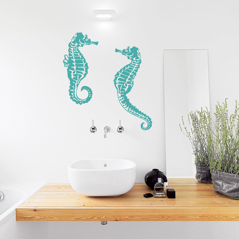 Vinyl Art Design Wall Sticker Seahorse Animal Home Decor Bathroom Decoration Underwater Art Design Poster Mural W605