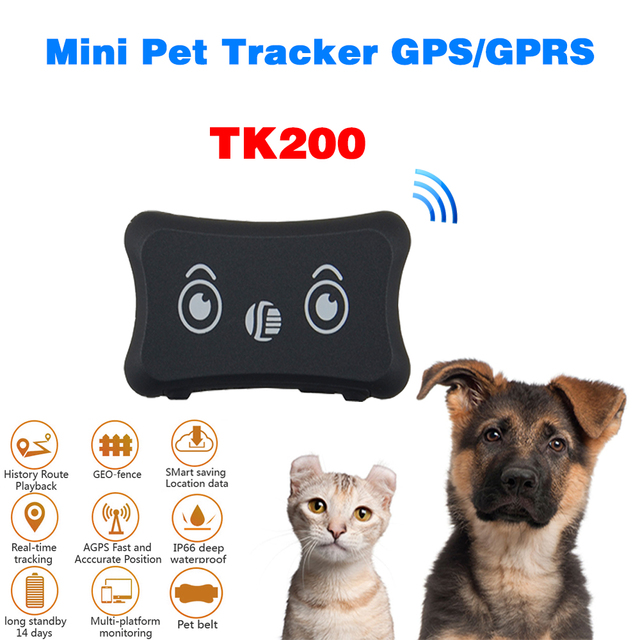 TK200 GSM/GPRS Network Mini Pet GPS Tracker Waterproof Tracker for Dog Cat Portable With Collar Add Low Battery Geo-fence Alarm