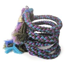Purple Blue Bird Swing Hanging Parrot Spiral Rope Toys with Bells Chewing String Parrot
