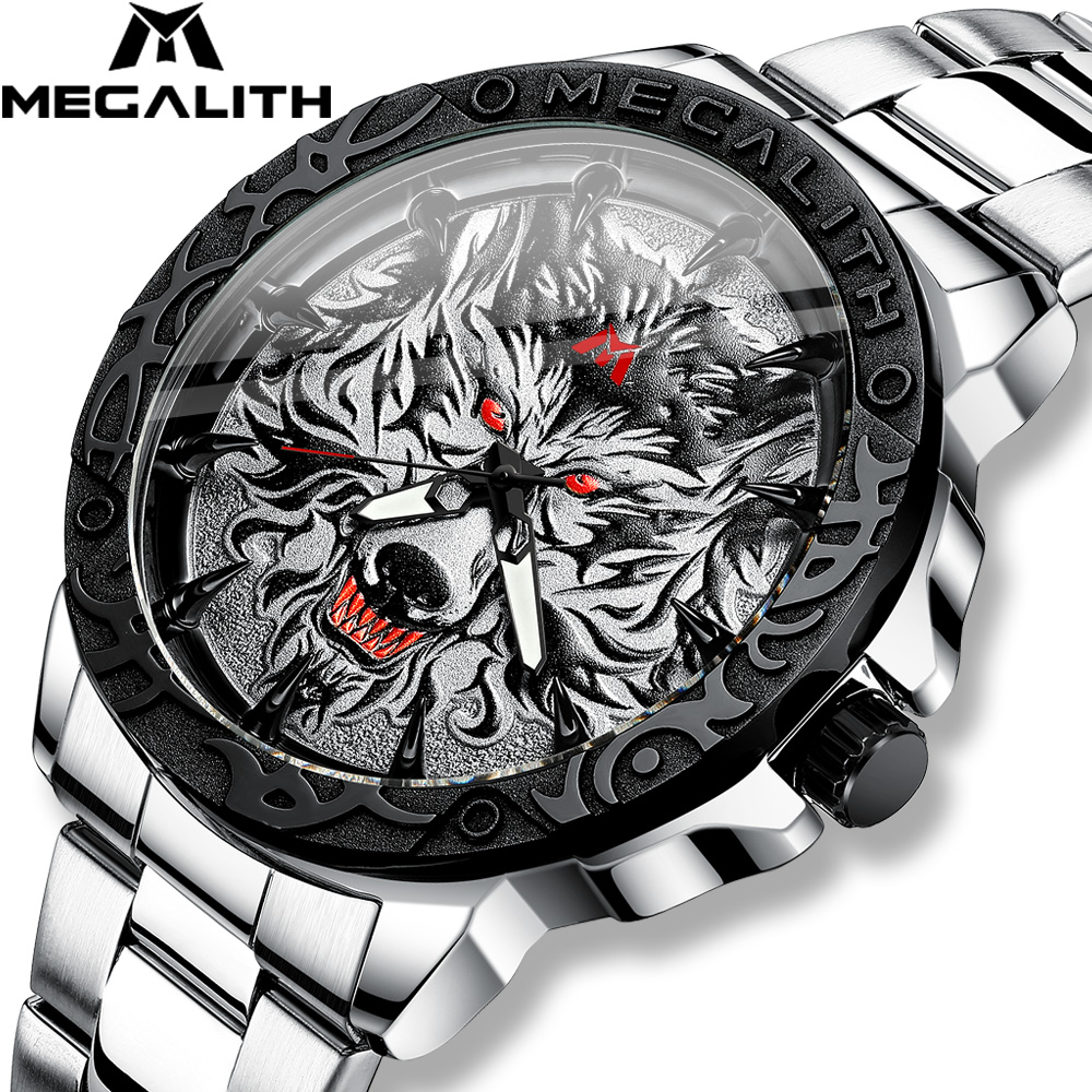 MEGALITH Newest Wolf Head Embossed Watch Men Luxury Stainless Steel Watch Waterproof Luminous Male Clock Relogio Masculino 2020