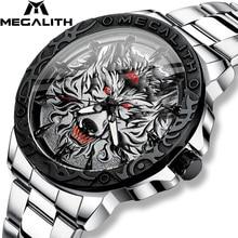 MEGALITH 최신 늑대 머리 양각 시계 남자 럭셔리 스테인레스 스틸 시계 방수 빛나는 남성 시계 Relogio Masculino 2020