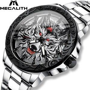Image 1 - MEGALITH 최신 늑대 머리 양각 시계 남자 럭셔리 스테인레스 스틸 시계 방수 빛나는 남성 시계 Relogio Masculino 2020