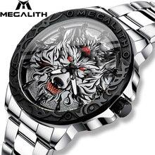 MEGALITH החדש וולף ראש בולט שעון גברים יוקרה נירוסטה שעון עמיד למים זוהר זכר שעון Relogio Masculino 2020