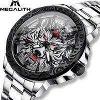 Megalith mais novo lobo cabeça em relevo relógio masculino relógio de luxo relógio de aço inoxidável à prova dwaterproof água luminosa relogio masculino 2020
