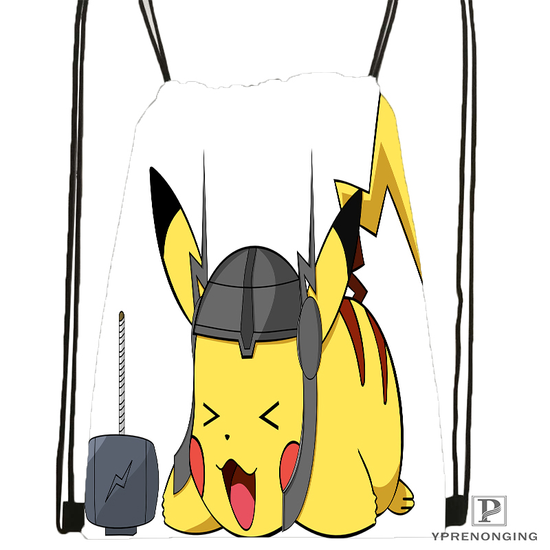 Custom Pikachu Pokemon Drawstring Backpack Bag Cute Daypack Kids Satchel (Black Back) 31x40cm#180531-04-53