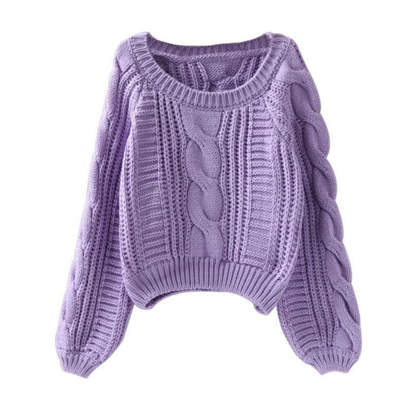 Roupas femininas Women Pull Sweaters New Purple Sweater Jumpers Candy Color Harajuku Chic Short Sweater Twisted Pull