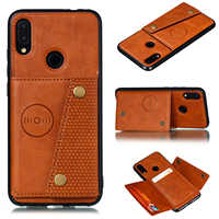 Multi Card Holders Wallet Case For Redmi 8 8A Note 8 Pro 8T Magnet Buckle Cover for Redmi 7A Note 7 K20 Case with Bracket