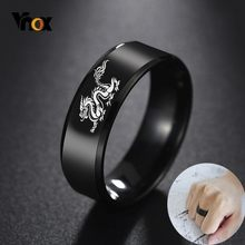 Vnox Cool chinois Dragon anneau pour hommes personnalisé gravure 8mm noir acier inoxydable Punk mâle Anel cadeau pour lui