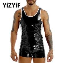 One-Piece Swimsuit Leotard Short Backless Mens Color Block-Design Wet-Look U-Neck Skin-Tight