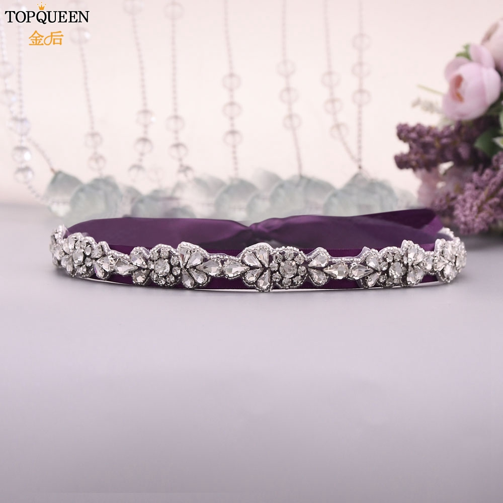 TOPQUEEN Belt With Rhinestones For Women Bridal Silver Decorative Sash Belts Evening Belts Crystal Womens Belt Ivory  S235