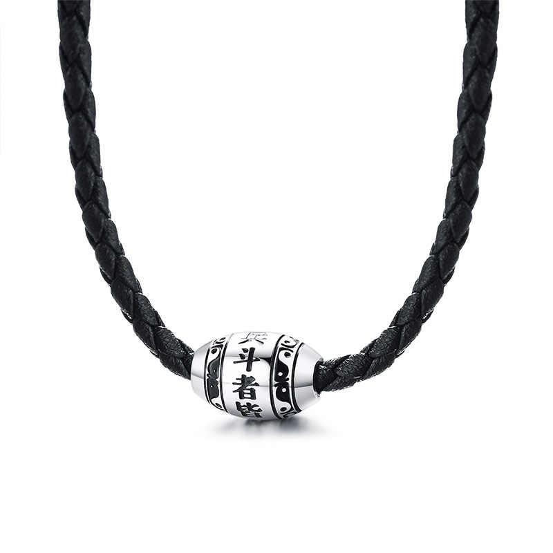 ZORCVENS Pria Kalung 9 Kata-kata Buddha Mantra Lucky Manik-manik Stainless Steel Pesona Liontin dengan Hitam Dikepang Tali Pria Perhiasan