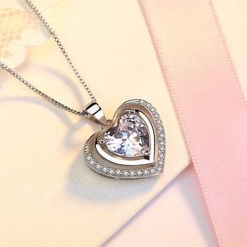 Handmade Rhinestone Pendant Cubic Zirconia Sterling Silver Heart Crystal Necklace  3