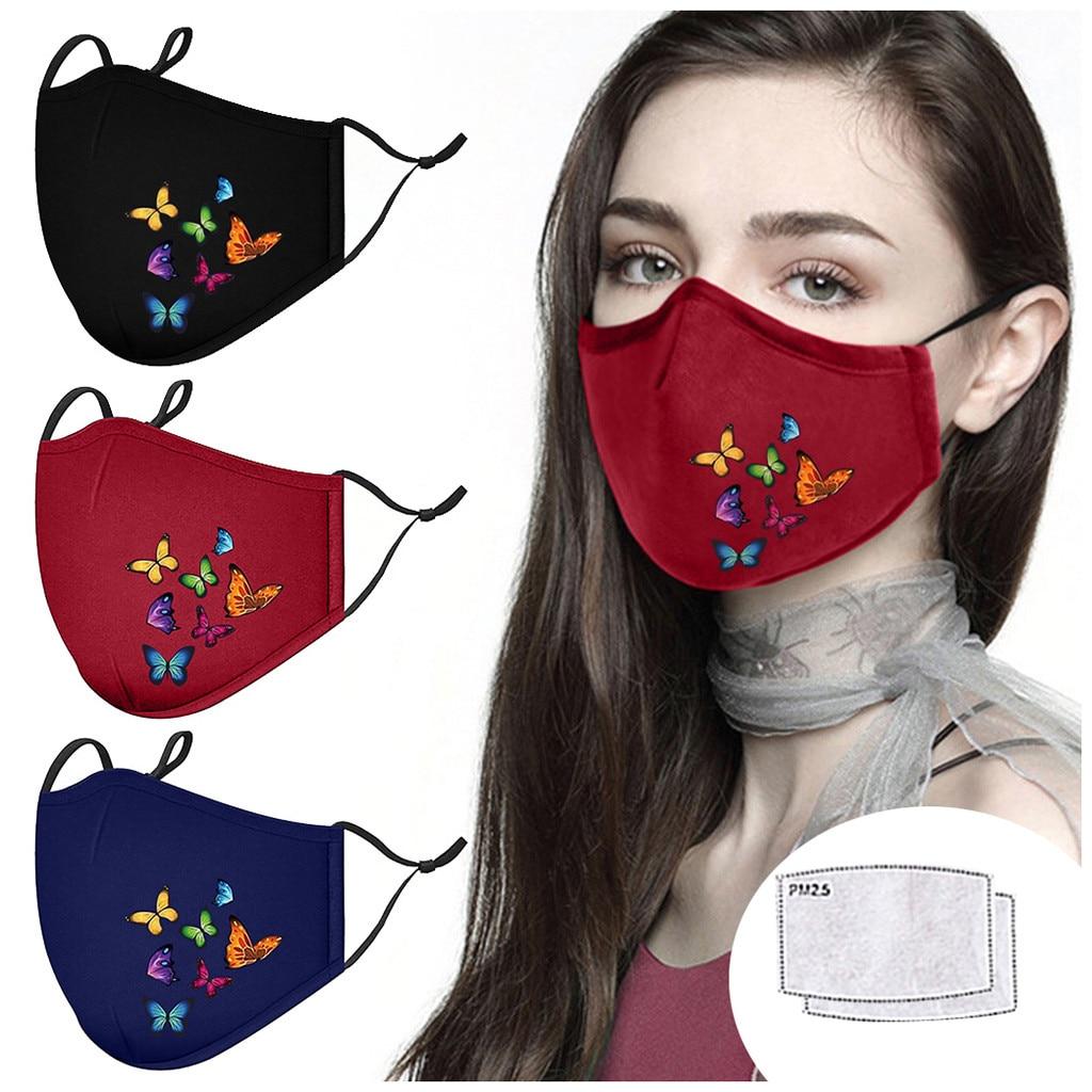 Masque buccal imprimé papillon avec 2 pièces filtres bouchons de bouche en tissu masque facial respirant réutilisable masques de protection lavables