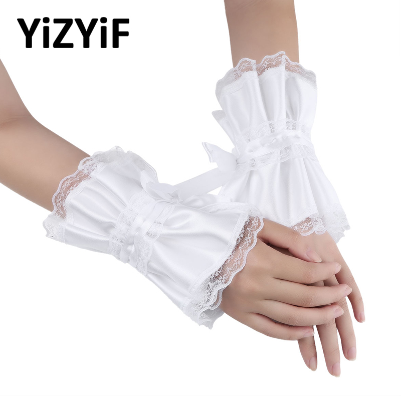Women Ruffled Wrist Cuffs Satin Lace Bracelet False Sleeves Wrist Cuffs For Wedding Dancing Costume Accessories Cosplay Props