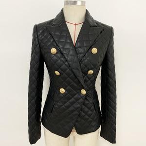 Image 3 - Qualidade superior 2020 mais novo designer jaqueta feminina duplo breasted leão botões grade costura blazer de couro sintético