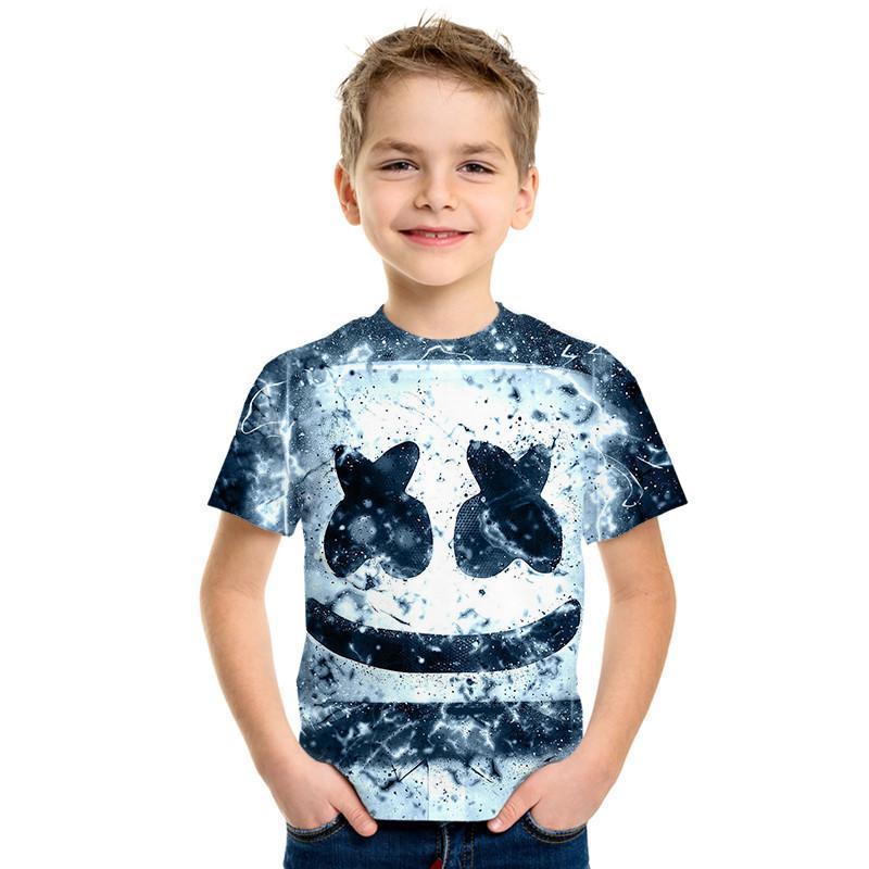 Off White Funny 3D Print Hip Hop Style Children's Clothing T-shirt Man / Girl's Short-sleeved Children's Street Funny Shirt