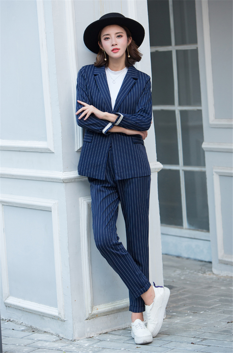 New Women Striped Suit Suit Casual Small Suit Nine pants Trousers British Style Fashion Professional Wear Pant Suits Two-piece