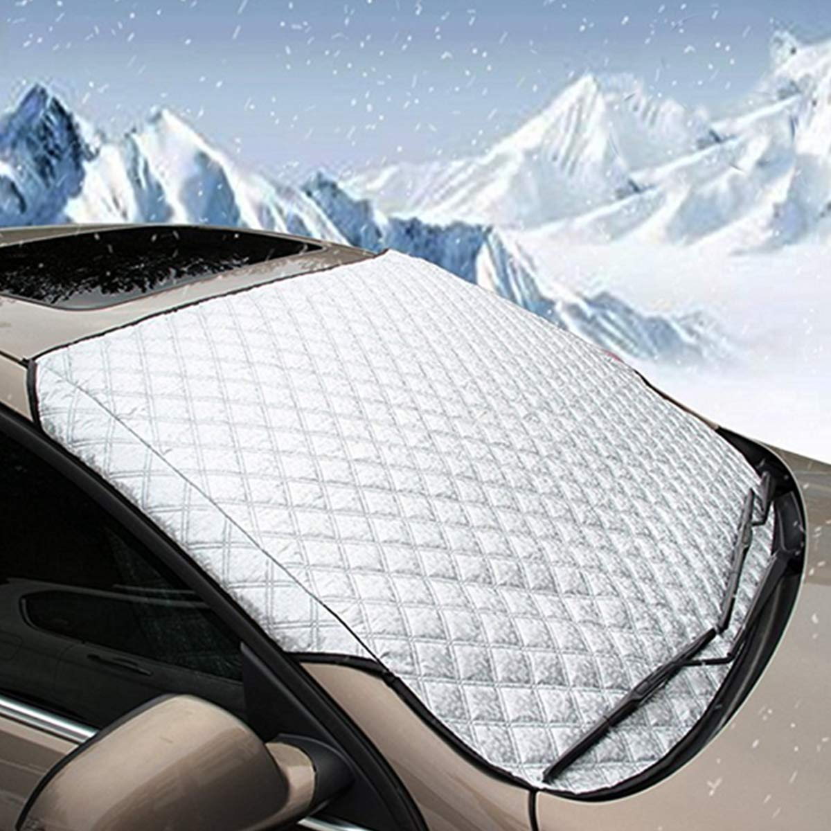 Car Windscreen Cover Anti Snow Frost Ice Shield Dust Protector Heat Sun Shade Magnetic Car Window Screen Frost Large Snow Cover
