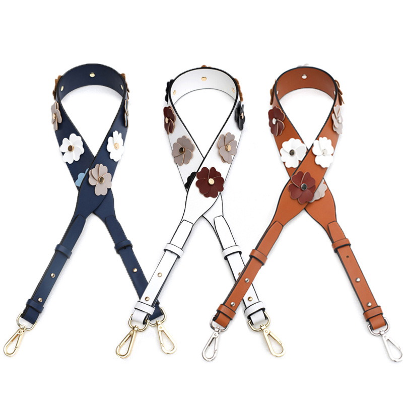 Luxury Bag Strap Women Shoulder Leather Belt 2019 New Fashion Flower Adjustable Handbag Belts Travel Crossbody Accessories Strap