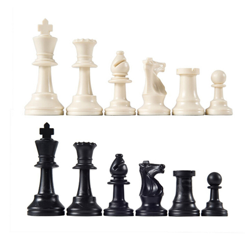 Peças de Xadrez Jogo de Xadrez Preto e Branco Medievais Plástico Completo Xadrez Internacional Palavra Entretenimento 64mm 32 – Mod. 313800
