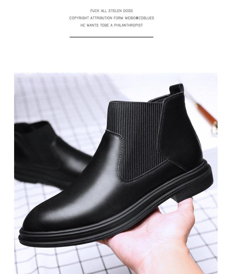 Botas masculinas de couro retro botas de
