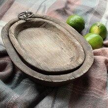 DUNXDECO, bandeja de madera para el hogar y la Oficina, bandeja de madera para fruta, Accesorios para pan para llaveros, contenedor retro, Decoración de mesa, suelo de fotografía