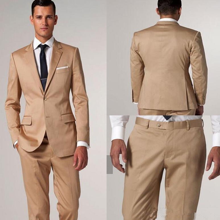 Champagne Tux Modern Golden Satin Notch Lapel Two Groom Tuxedos Men Formal Evening Wedding Suits Slim Fit Suits Boys (coat+pants