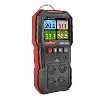 Compound Gas Monitor 4in1 LCD Carbon Monoxide Detector Hydrogen Sulfide Oxygen Combustible Gas Leak Sensor Analyzer Data Alarm