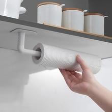 1pc Kitchen Self-adhesive Accessories Under Cabinet Paper Roll Rack Towel Holder Tissue Hanger Home Multifunction Storage Rack