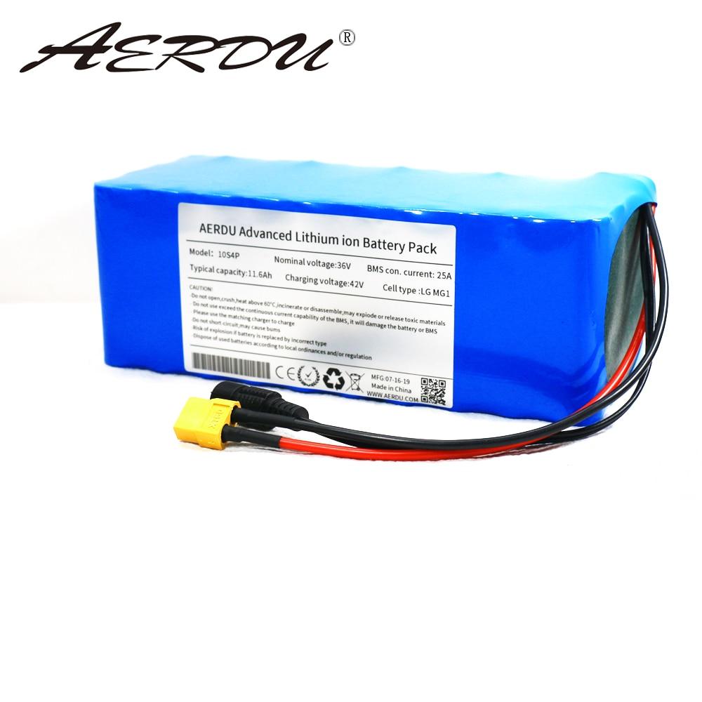 AERDU 36V 11.6Ah 12ah akumulator litowy do LG MG1 750W 600W 500W 450W 350w 250W 37V ebike elektryczny samochód skuter rowerowy