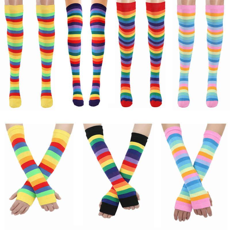Regenbogen Oberschenkel hohe Socken