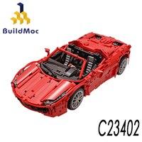 BuildMoc Bir inşa MOC Lamborghini Audi R8 V10 Ferrarii 458 Yapı Taşları oyuncak seti DIY Eğitici Çocuk doğum günü hediyesi