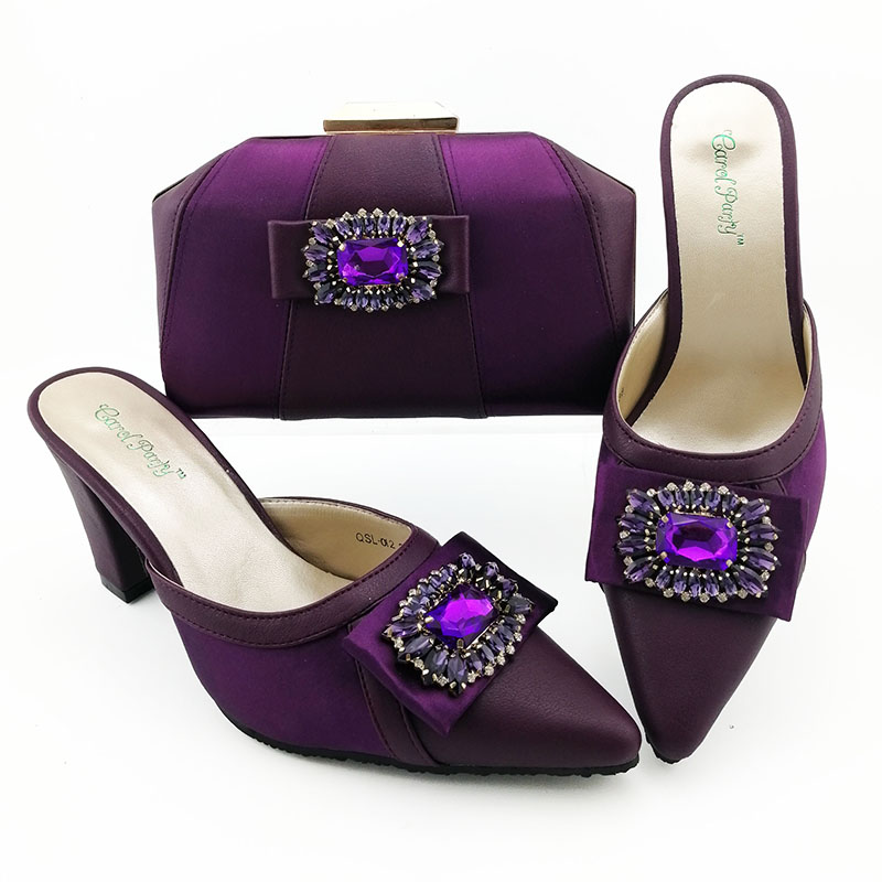 Newest Purple Shoes and Bag To Match Italian Women Shoe and Bag To Match for Parties African Shoes and Bags Matching Set