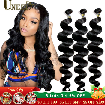 Uneed Brazilian Body Wave Bundles Hair Extensions 100% Remy Human Weave 30 32 40 Inch Natural Color Buy 1/3/ 4 Pcs - discount item  59% OFF Human Hair (For Black)