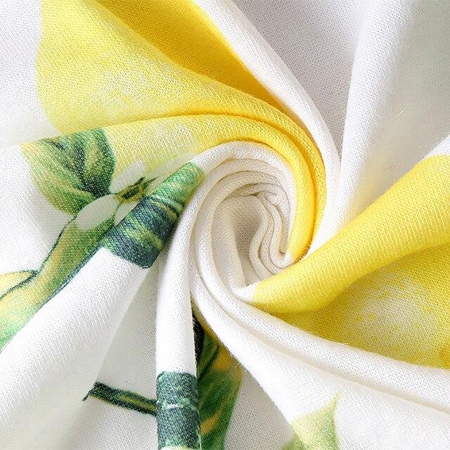 Dresses For Women Casual Elegant Lemon Printing Sleeveless Strappy Party O-Neck Summer Dress платья для женщин осень 3