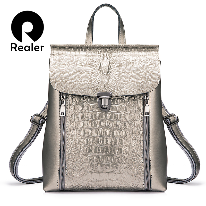 REALER Women Backpack Leather Backpack School Bags For Girl Teenagers Crocodile Prints Waterproof Travel Bag High Quality