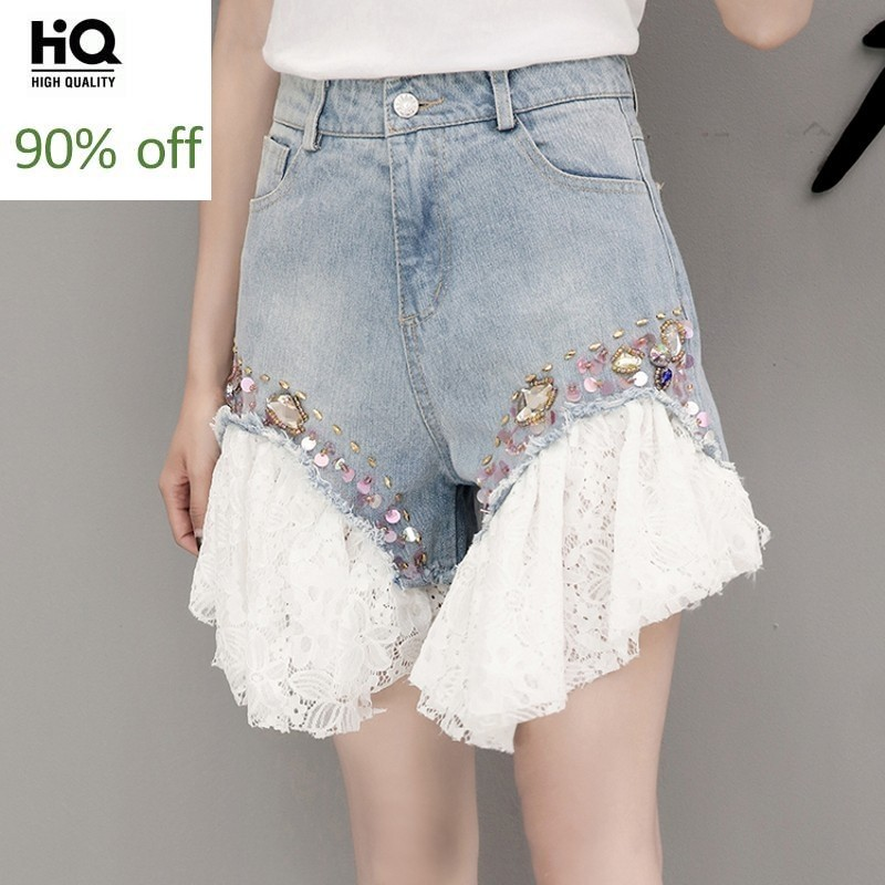 Lace Denim Patchwork Shorts Skirts For Women Loose Beading Female Fashion Brand Ladies Jeans Short Costume Sequin Fashion Shorts