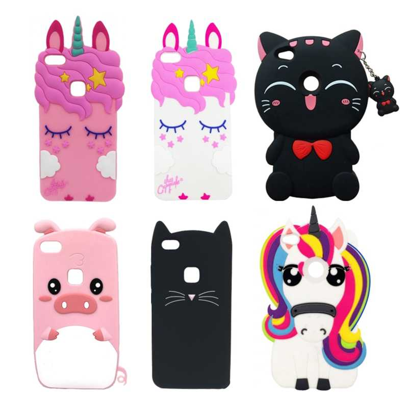 Cover For Huawei P8 Lite 2017 Soft Silicone Case Cute Cartoon 3D Unicorn Cat For Huawei P8 Lite 2017 / Honor 8 Lite Phone Cases