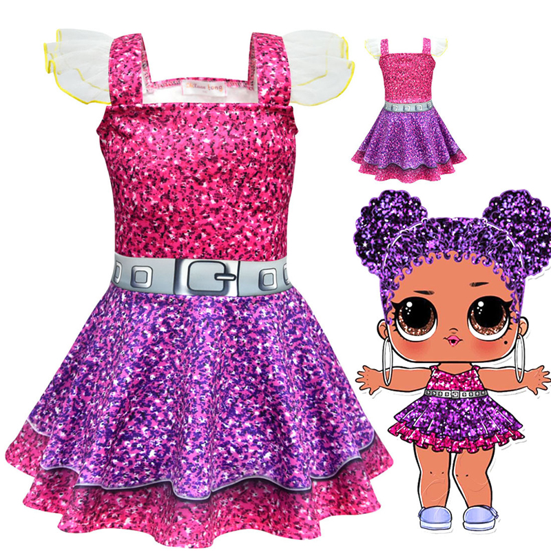 Girls Lol Doll Cosplay Clothes Sling Ballet Dresses Kids Funny Party Clothing Cartoon Skin Cos Christmas Halloween Costumes Suit