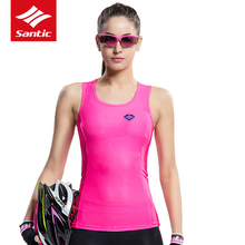 Santic Cycling Jersey Women Sleeveless MTB Road Bike Jersey Pro Bicycle Downhill Jersey Breathable Cycling Clothing L6C02082P wosawe cycling jersey sets winter thermal sports pro jersey triatlon bike bicycle clothing jackets pants men women