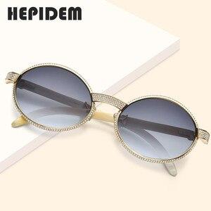 Image 2 - 2020 New High Quality Men Round Sunglasses Brand Designer Luxury Diamond Sumptuous Sun Glasses for Women Buffalo Horn Glasses