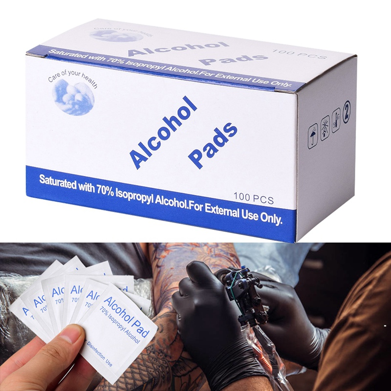 Portable 100PCS Professional Alcohol Swabs Pads Wet Wipes 70% Isopropyl First Aid Home Skin Clean