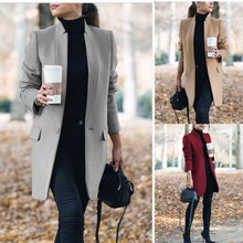 Winter Coats and Jackets Women 2019 Plus Size Long Wool Coat Warm Korean Elegant Vintage Coat Female Cloak Cape Khaki Jacket cheap Full Casual COTTON Polyester Trench Button Solid A-C-C1073 Turtleneck Open Stitch Slim Urban leisure Stitching Cardigan