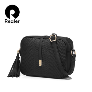 REALER small shoulder bag for women messenger bags ladies retro PU leather handbag purse with tassels female crossbody bag(China)