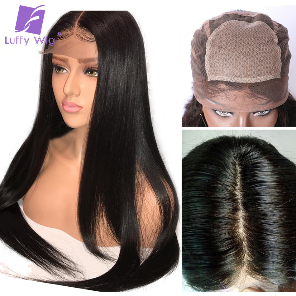 Luffy Straight 5x4.5 Silk Base Full Lace Human Hair Wigs Brazilian 100% Remy Hair Silk Base Lace Wigs Pre Plucked With Baby Hair