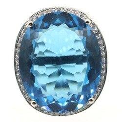 Женские серебряные кольца SheCrown с тонкой огранкой, 25x21 мм, 22x18 мм, с изображением лондонского голубого топаза, Прямая поставка