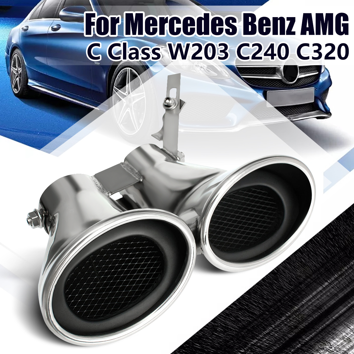 Car Auto Rear Tail Throat Liner Stainless Steel Dual Exhaust Muffler Pipe For MERCEDES-BENZ -AMG C Class W203 C240 C320